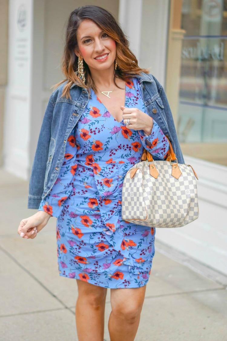 Jean Jacket, floral dress, and Louis Vuitton Handbag