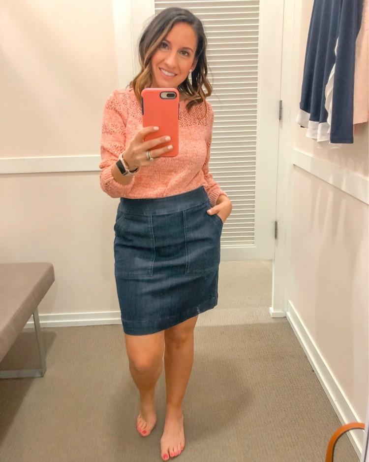 Loft Try On Session Denim Skirt