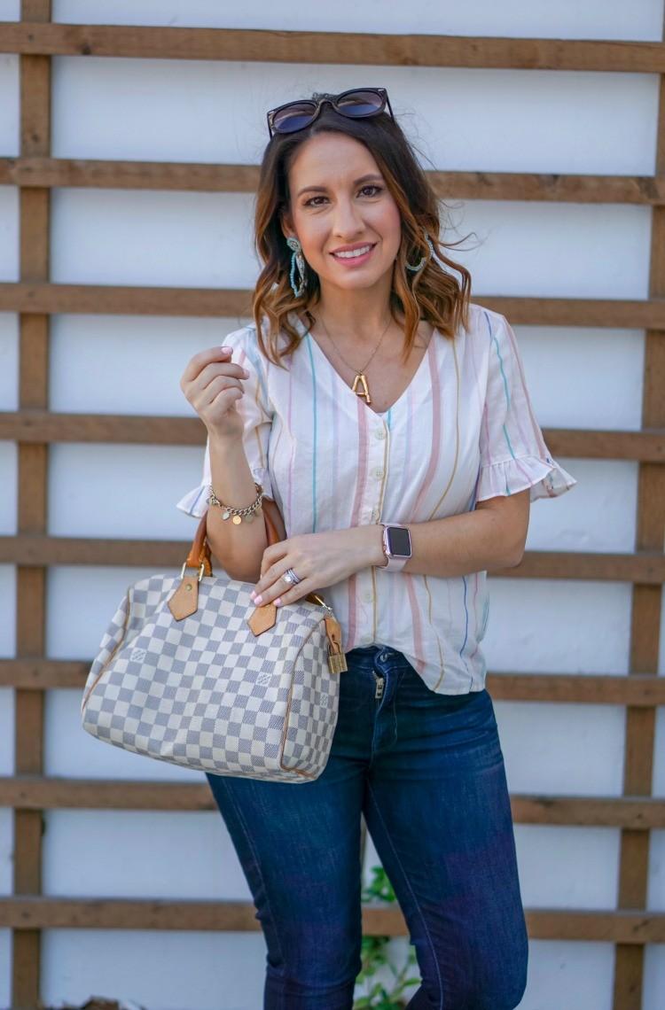 Madewell striped ruffle sleeve blouse, and dark skinnies