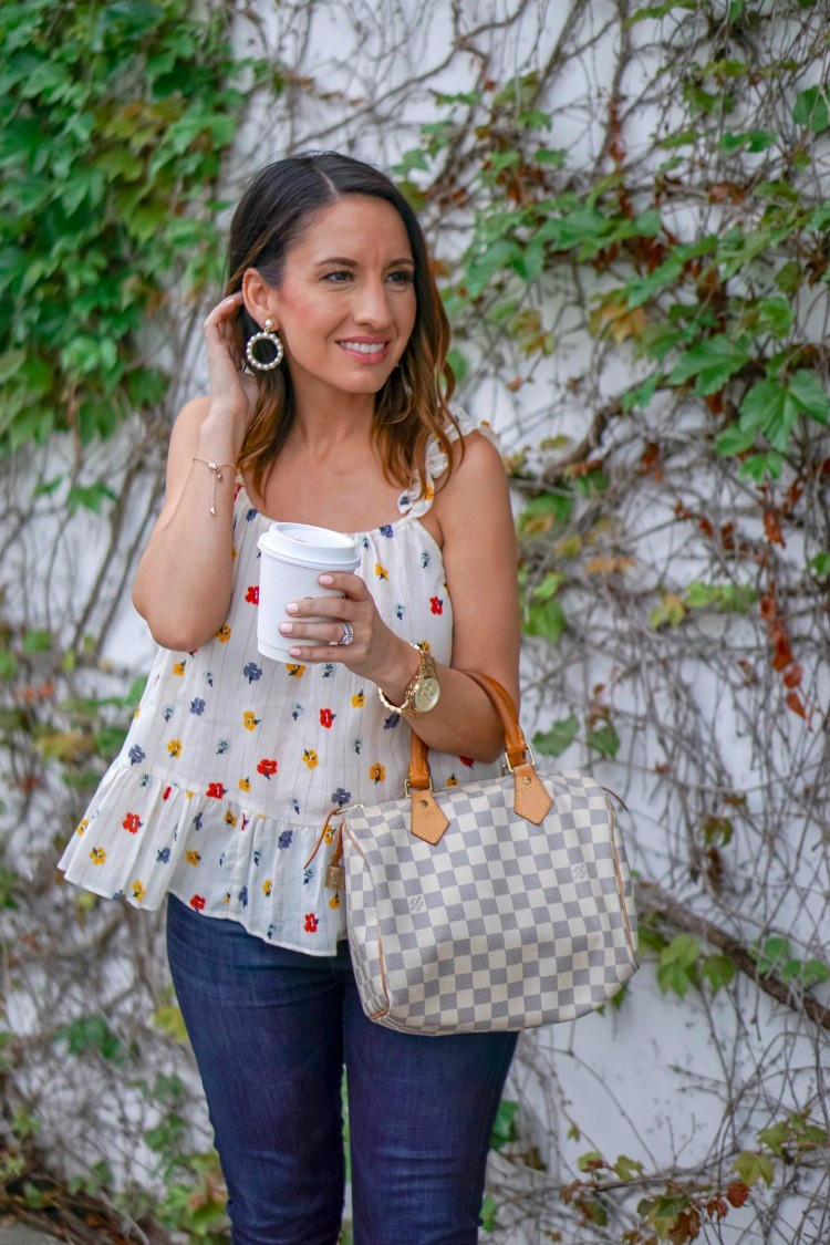 Floral Peplum top, skinny jeans, Louis Vuitton Handbag and pearl hoop earrings