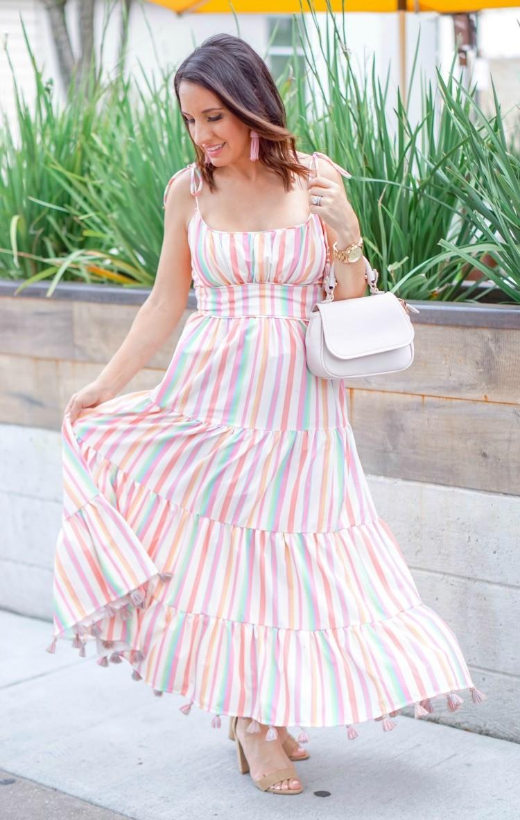 Rainbow Candies Stripe Maxi Dress and nude heels