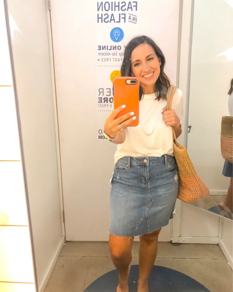 Old Navy Distressed Denim Skirt and Cute White Tee