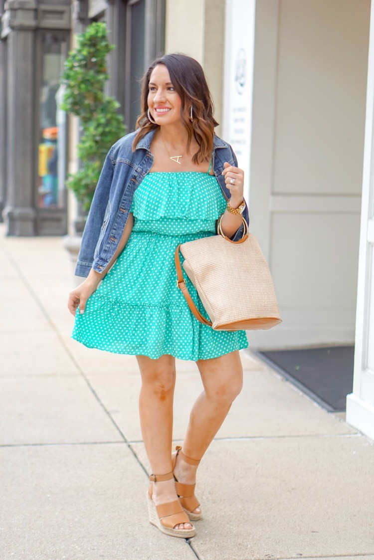 Kelly Green Polka Dot Dress and Wedges