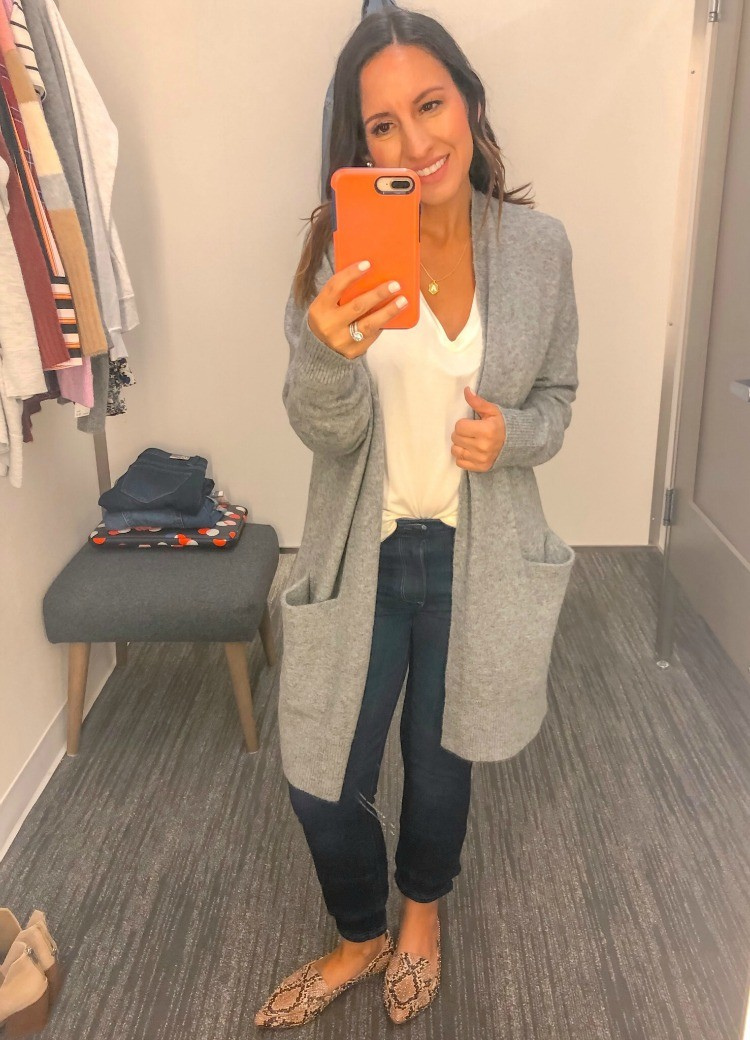 Madewell Cardigan, Basic White tee, Jeans , and flats