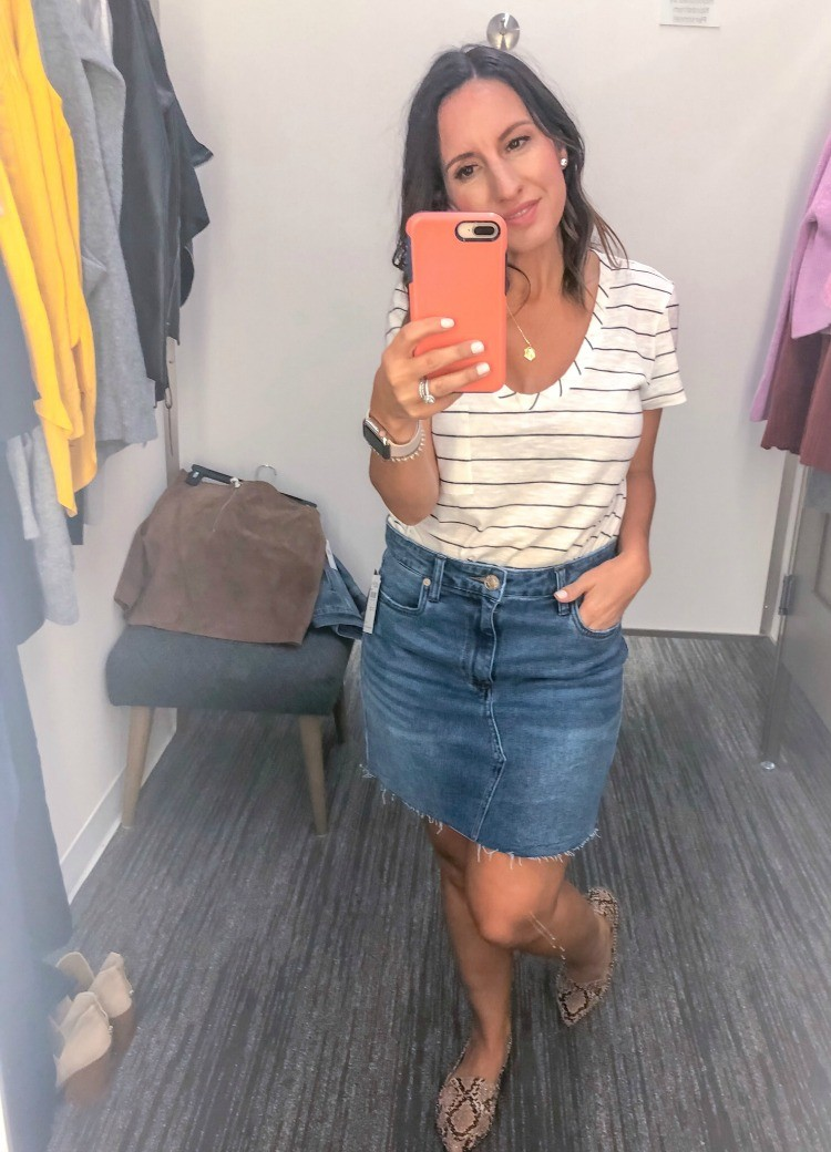 Stripe tee and the cutest denim skirt