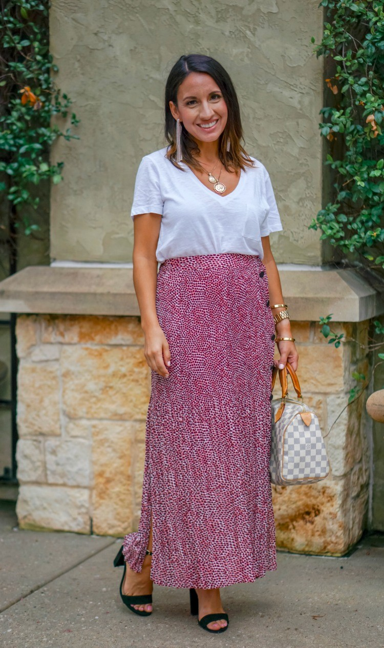 White T-Shirt, Red and White animal Print Pleated Skirt