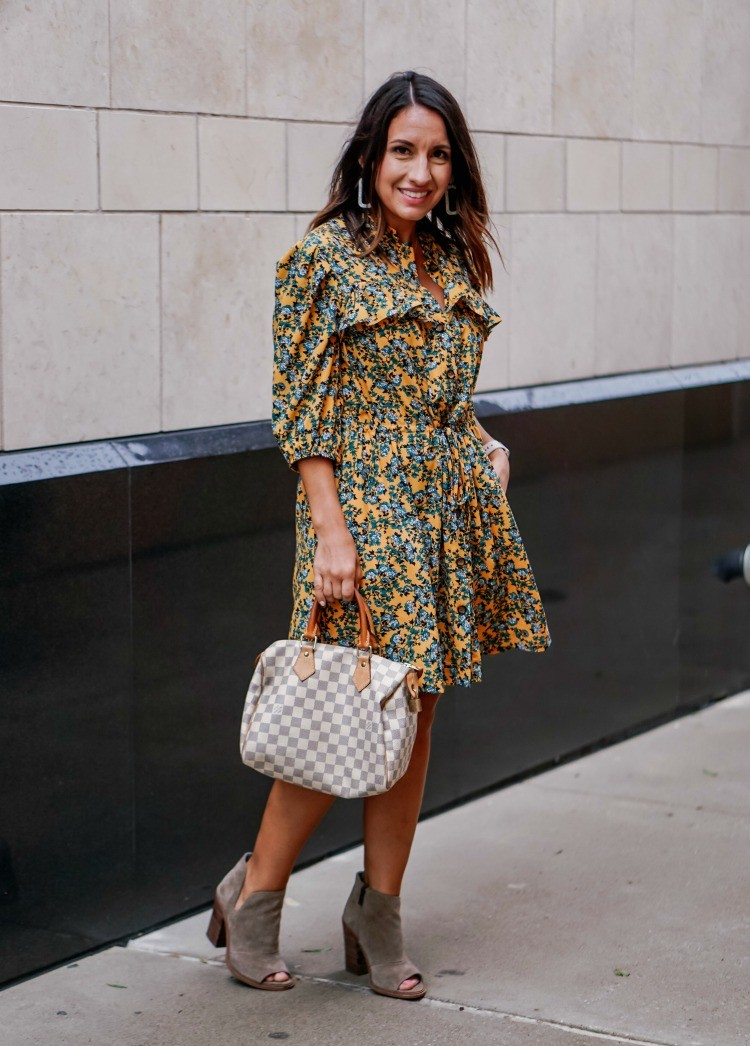Floral Dress and Booties perfect for Thanksgiving
