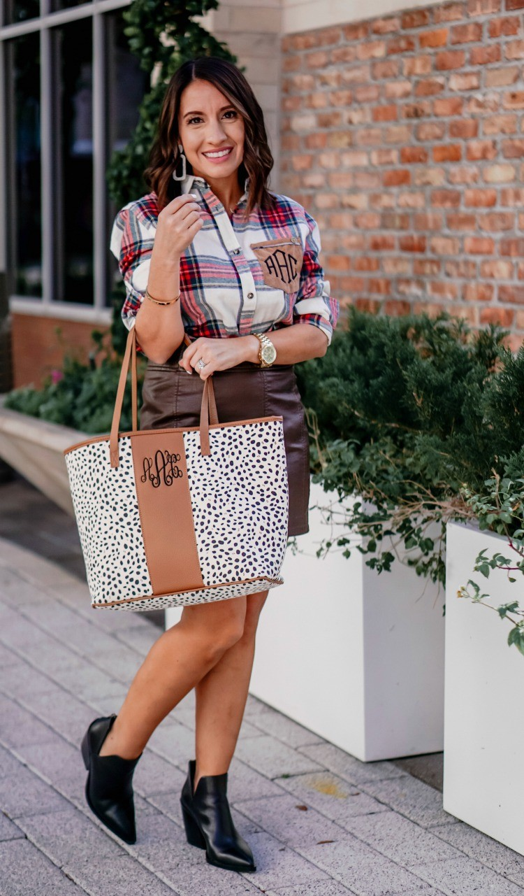 MarleyLilly Plaid shirt Leather Skirt and booties