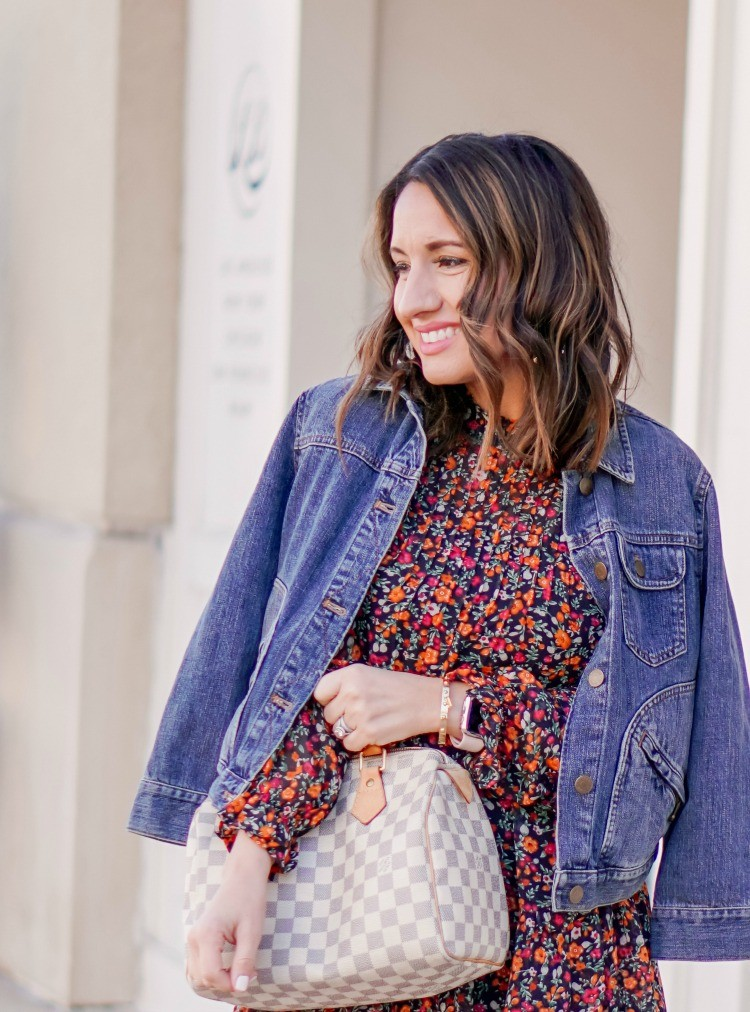 Jean Jacket and Dark Floral Dress