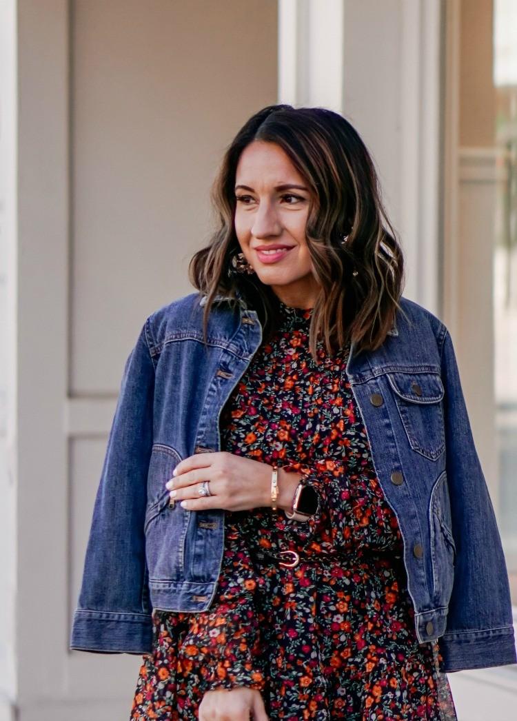 Jean Jacket_ Floral Dress_ Statement Earrings