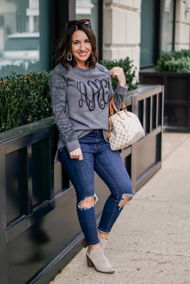 MarleyLilly Raglan Monogrammed Sweatshirt_ Jeans_ and Mules