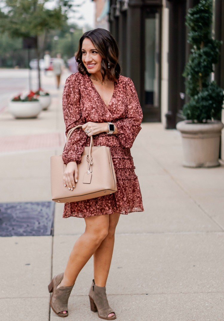 Floral Ruffle Dress and the perfect spring handbag