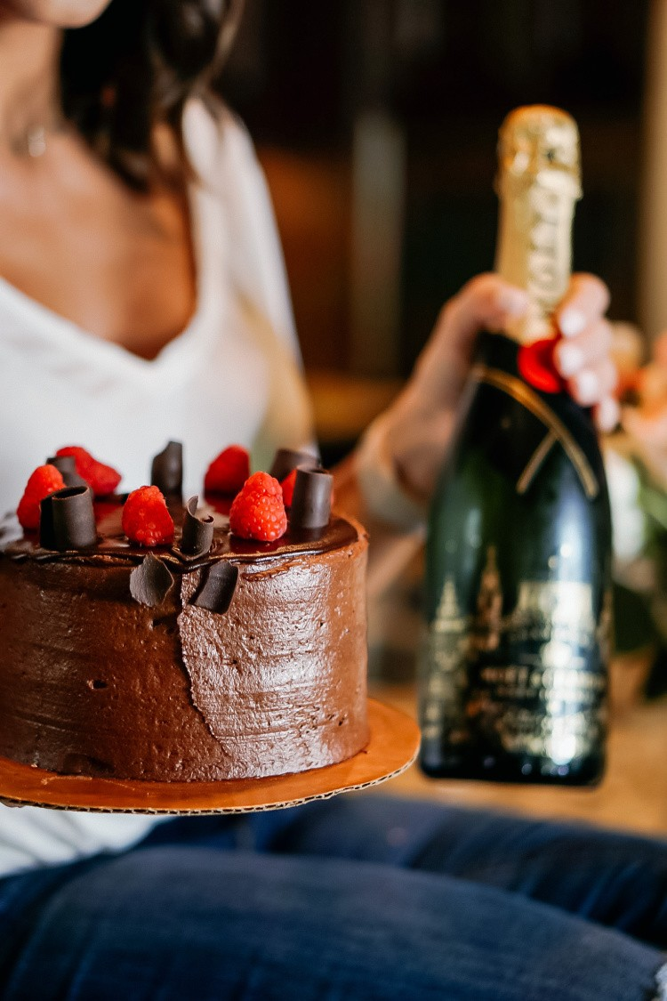 Moet Champagne and Chocolate Cake to Celebrate