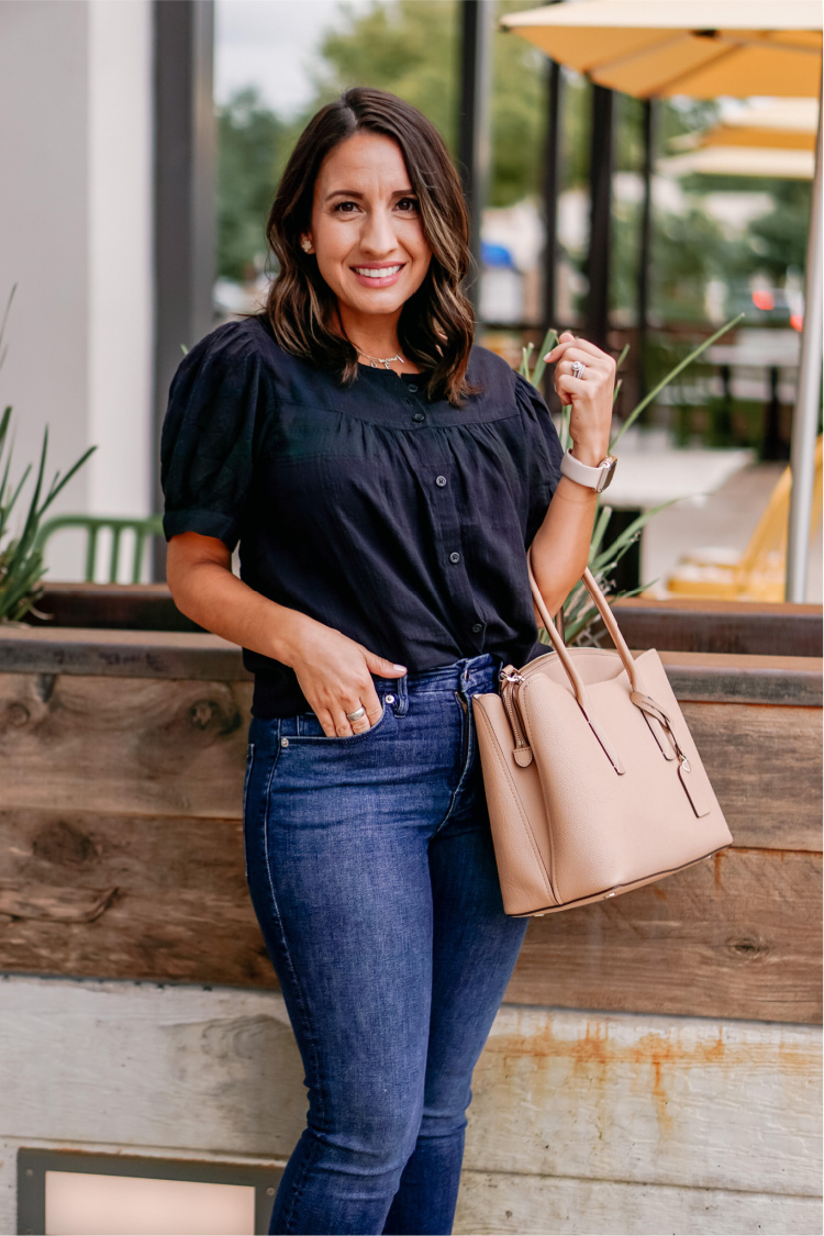Black Blouse and jeans for Fall