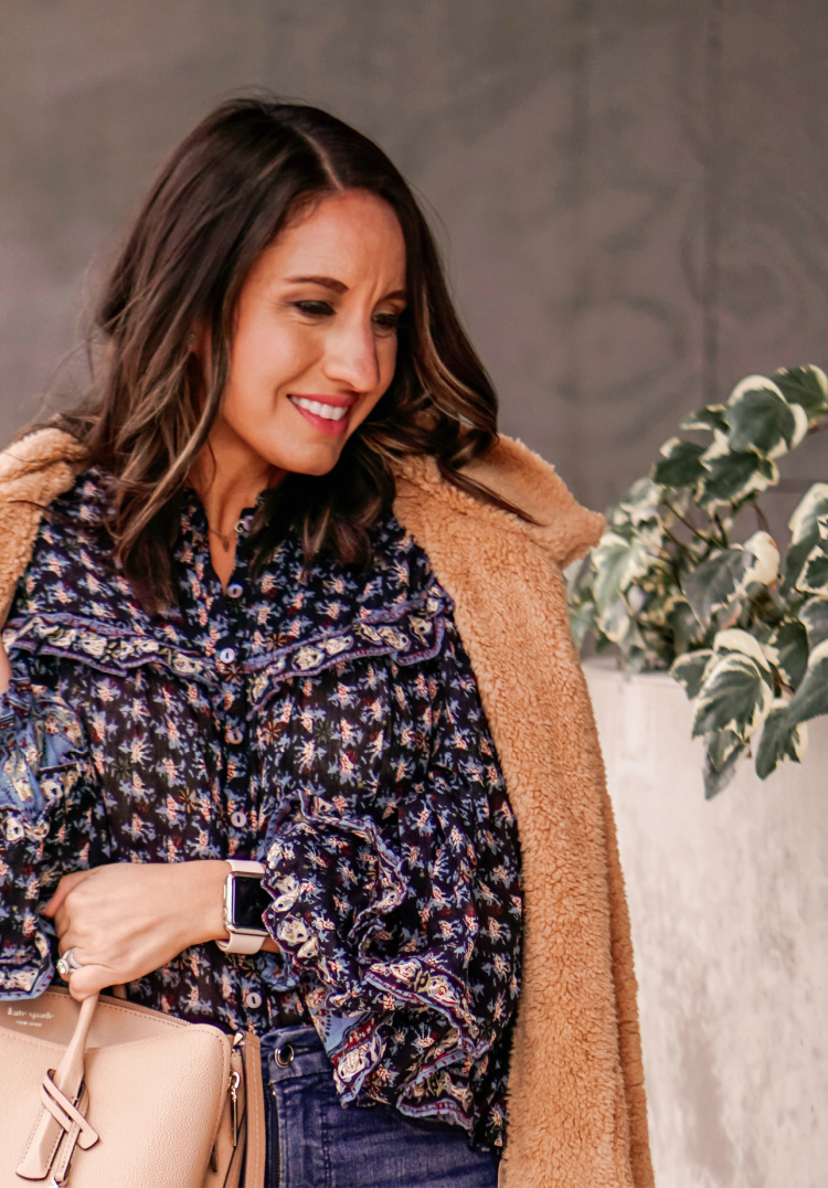 Cozy Teddy Bear Coat and Free People Floral Blouse