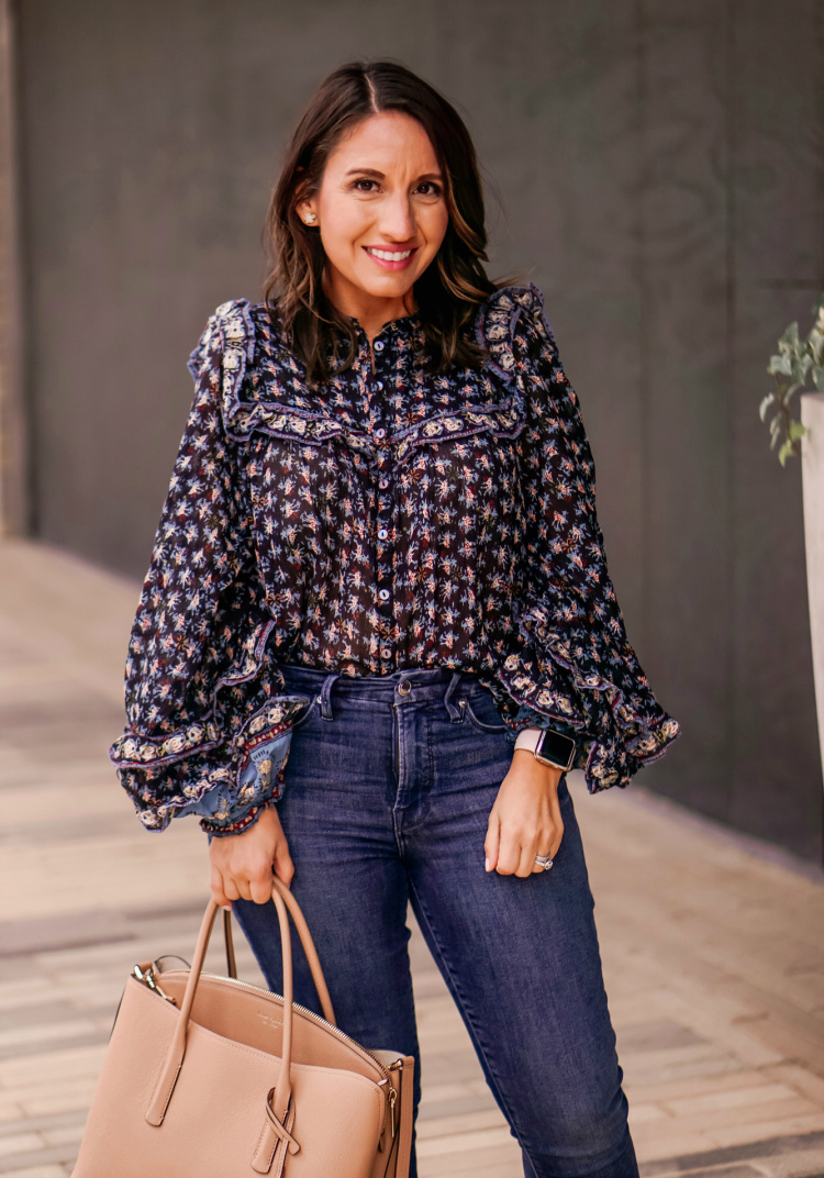 Free People Floral Blouse and Good American Jeans