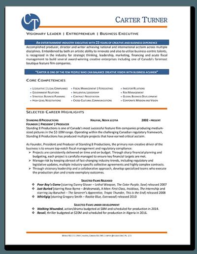 Resume Sample Entertainment Executive