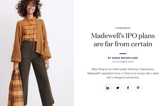 Madewell IPO Plans are far from certain, Business Vogue Article