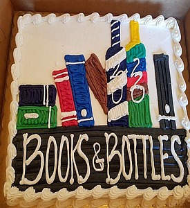 Books and bottles cake
