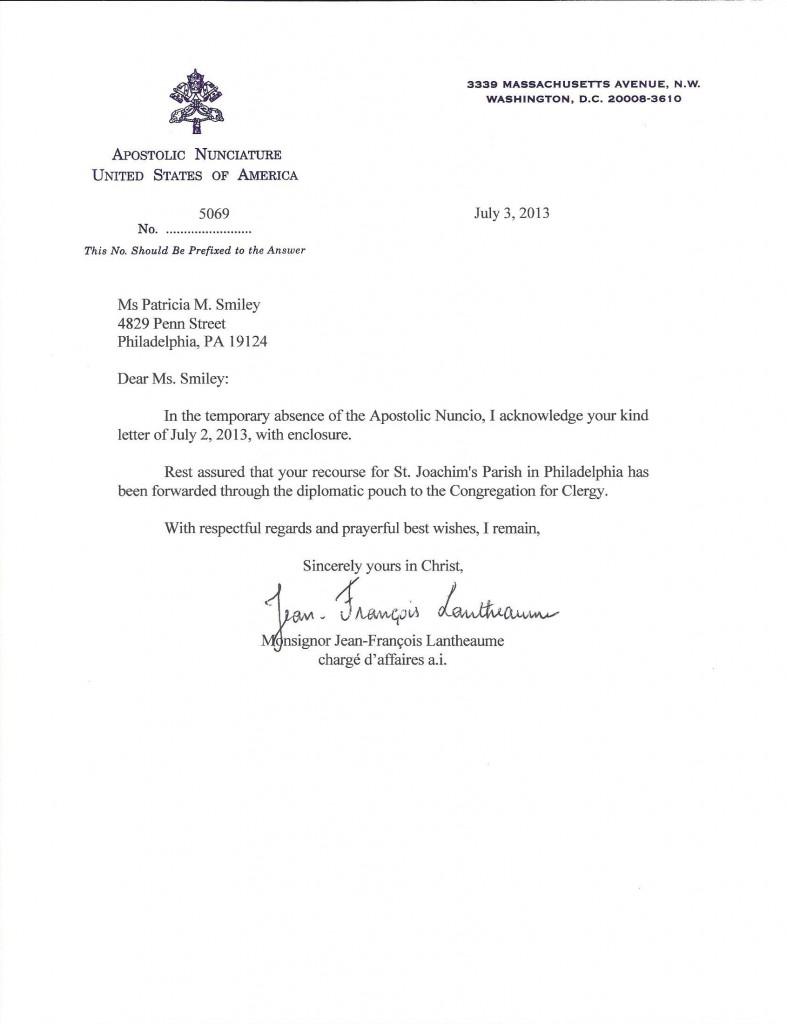 Receipt from Apostolic Nunciature
