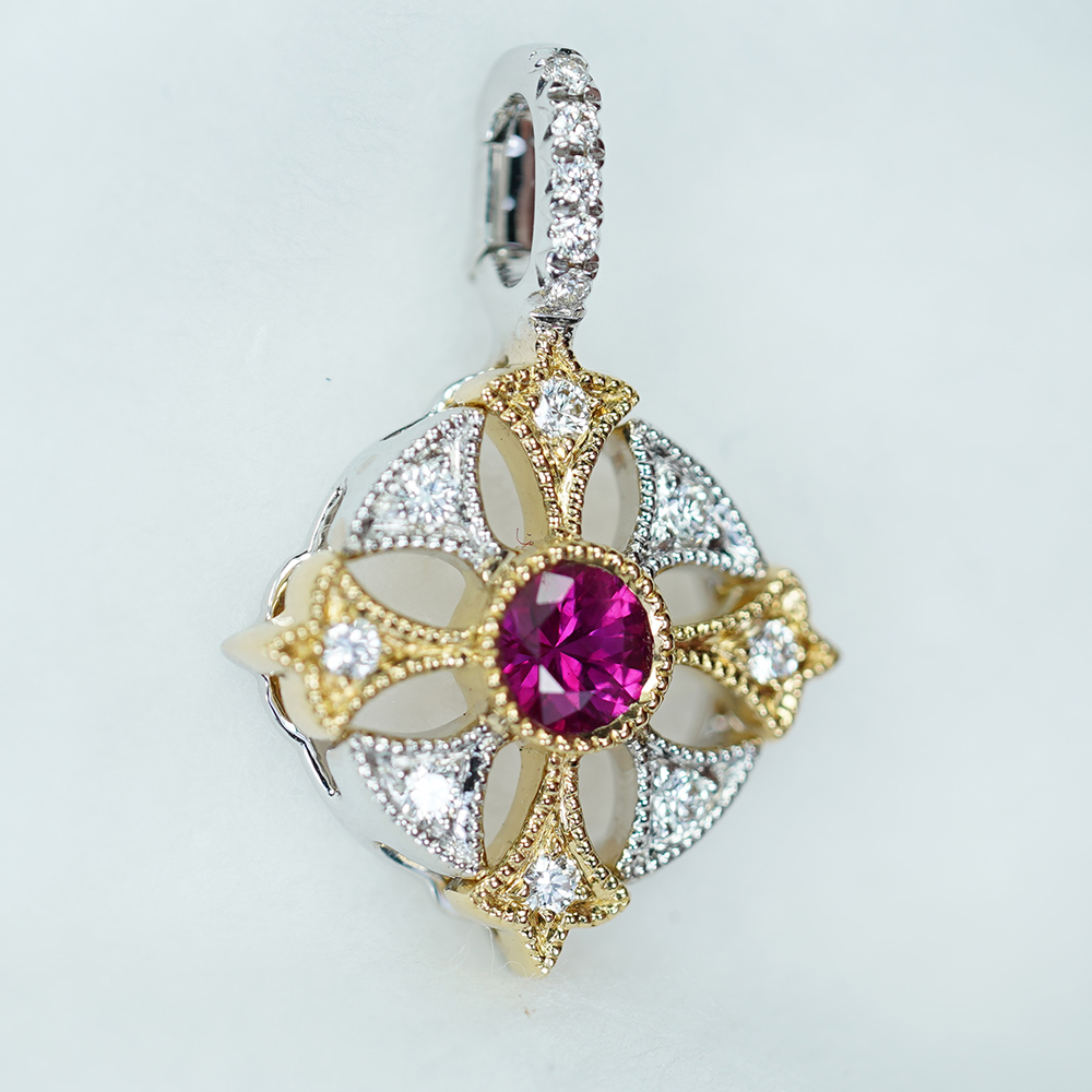 A Templar Cross in 2 Tone Yellow & White Gold set with Burmese Ruby & Diamond