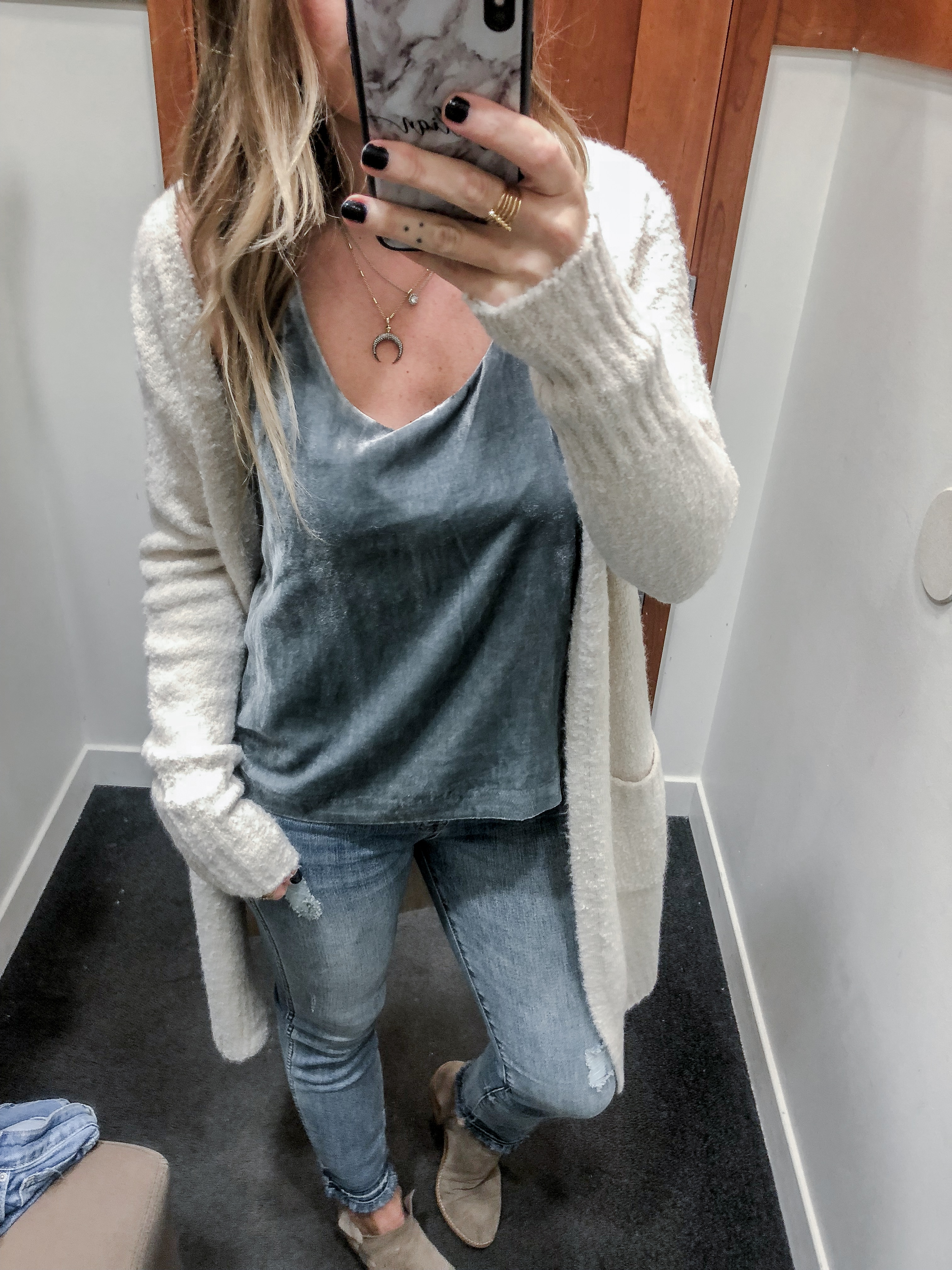 J.Crew 2018 Fall Collection Velvet Tank Top and Boucle Long Cardigan