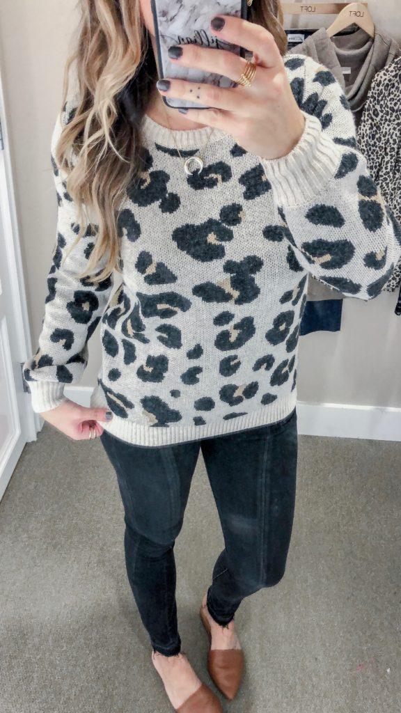 LOFT Fall Collection 2018 Leopard Jacquard Sweater
