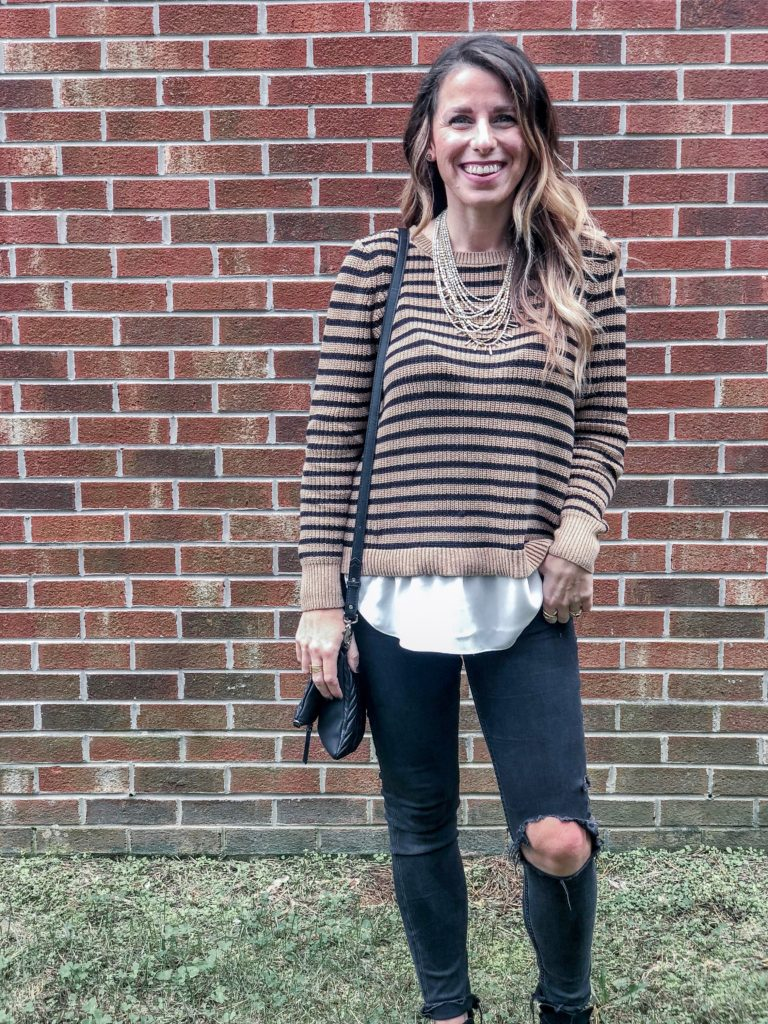 LOFT Fall Collection 2018 Stripe Split Back Sweater