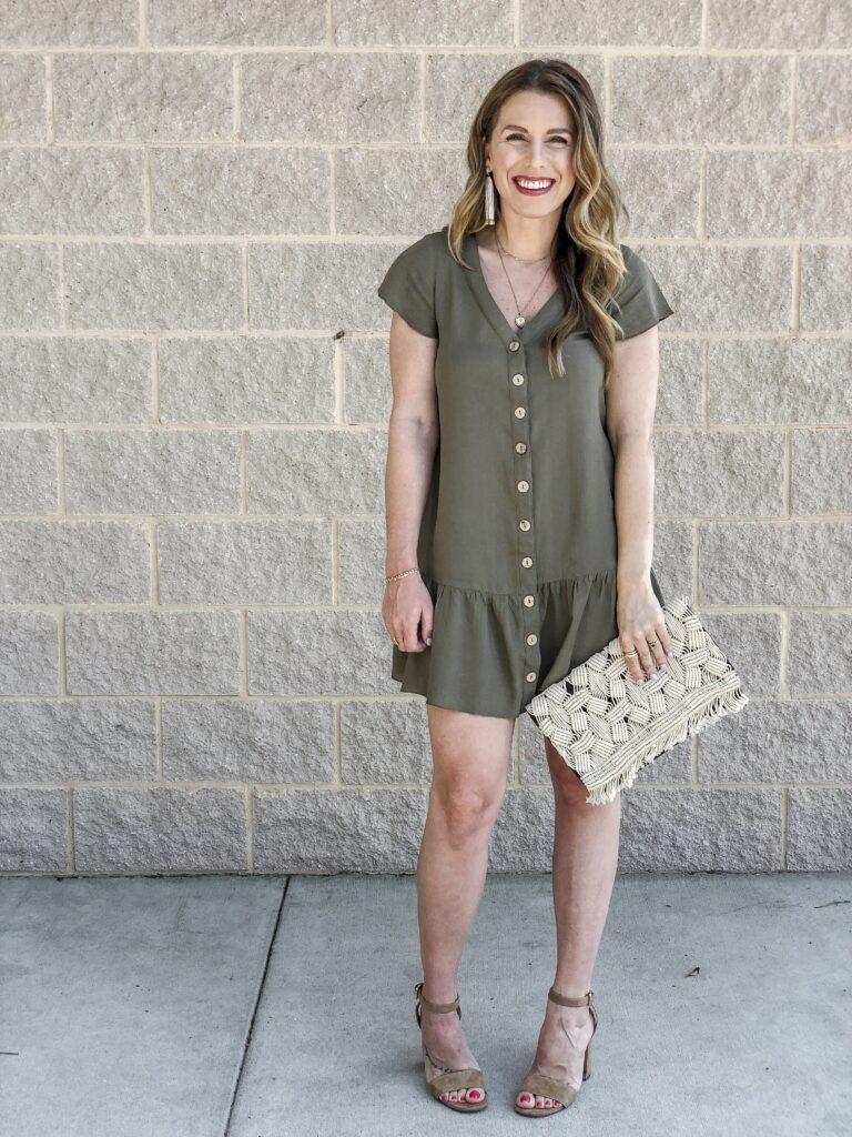 Amazon Peplum Dress Stella & Dot Macrame Clutch Ashley Tassel Earrings Sam Edelman Nude Heels
