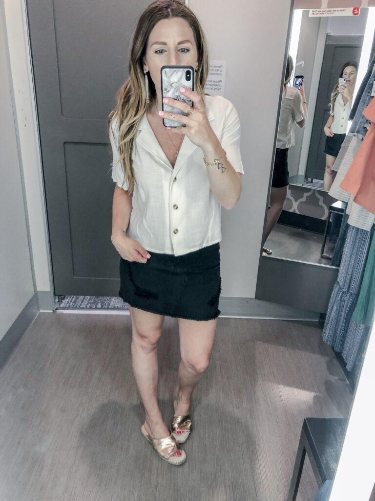 Women's Short Sleeve Button-Up Linen Camp Shirt - Wild Fable™ Ivory