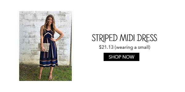 Zaful Blue Striped Midi Dress