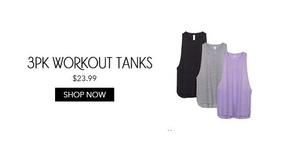 3pk Womens Workout Tanks