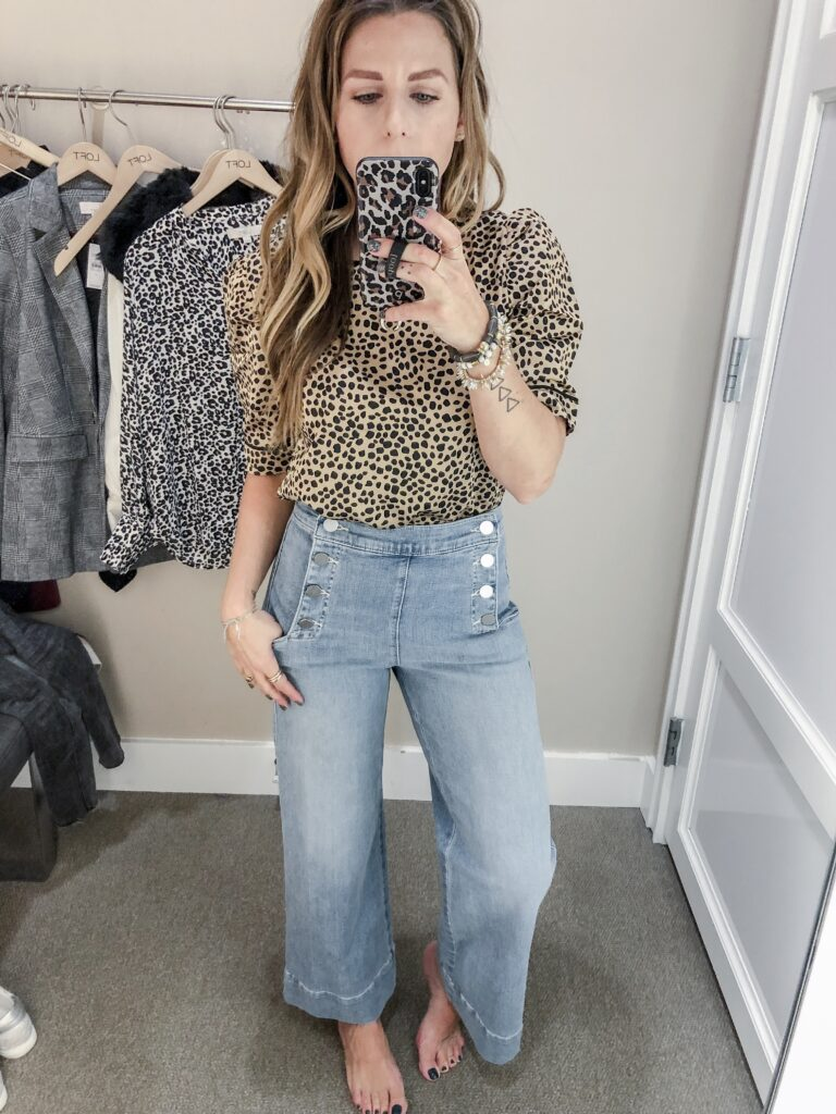 LOFT Fall 2019 Collection Dotted Puff Sleeve Top