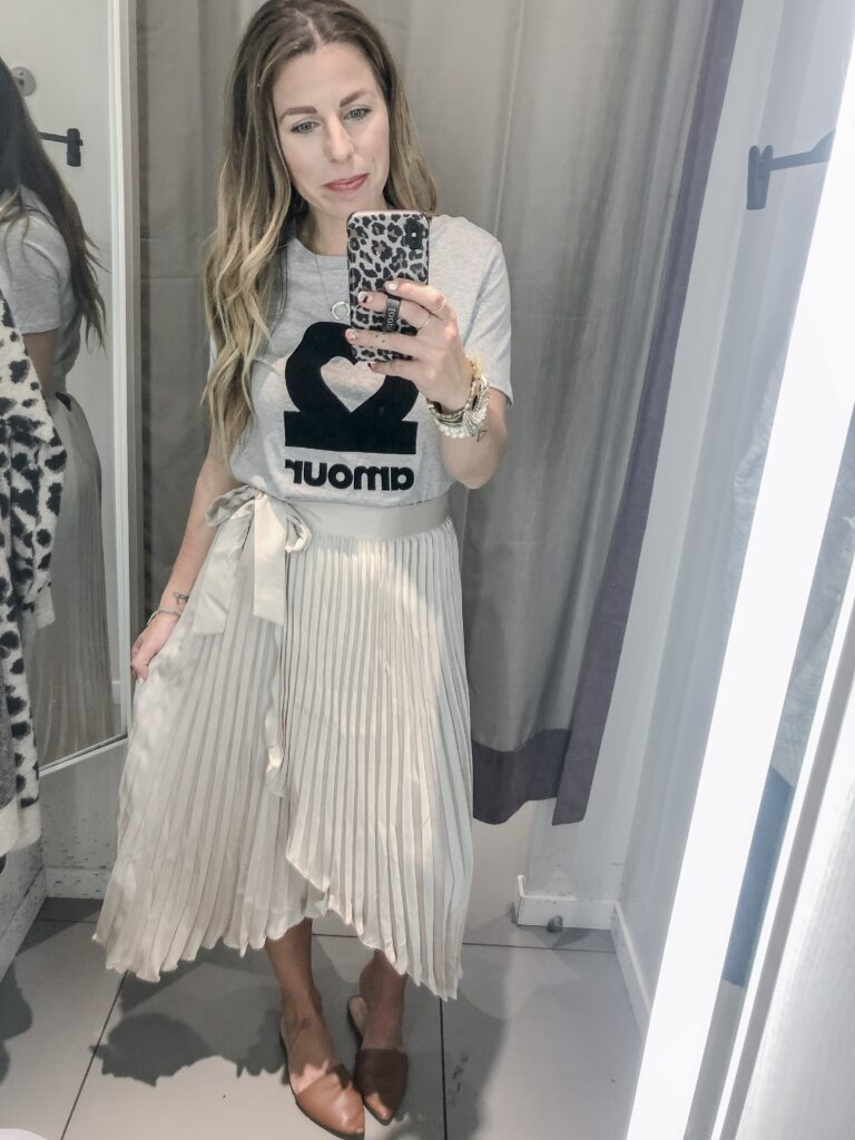 H&M 2019 Fall Collection Graphic Tee + Midi Skirt
