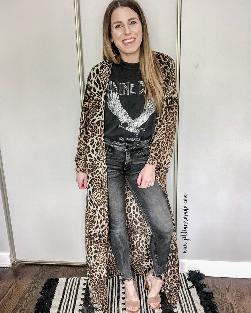 Anine Bing Eagle Graphic Tee | Leopard Duster | Date Night Outfit