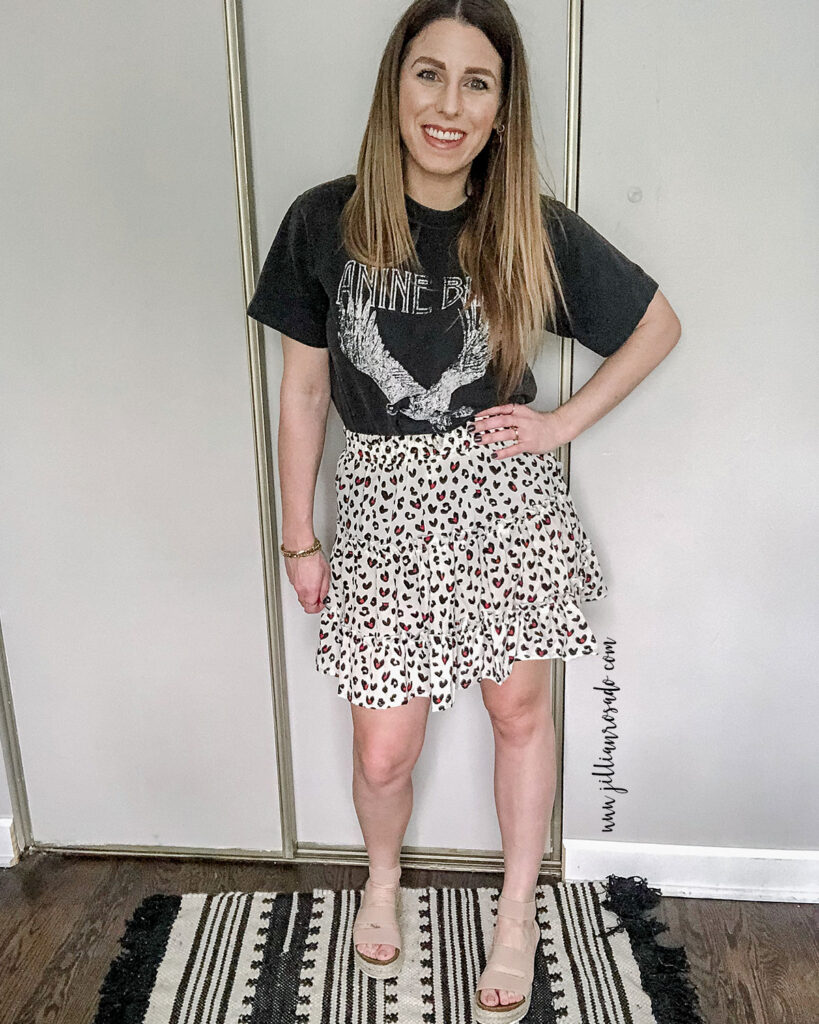 Anine Bing Eagle Graphic Tee | Amazon Leopard Skirt