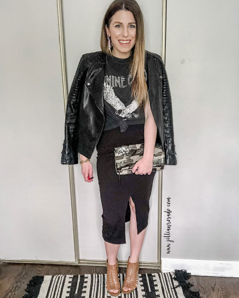 Anine Bing Eagle Graphic Tee | Date Night Outfit | Slit Midi Skirt Outfit | Camo Sequin Clutch