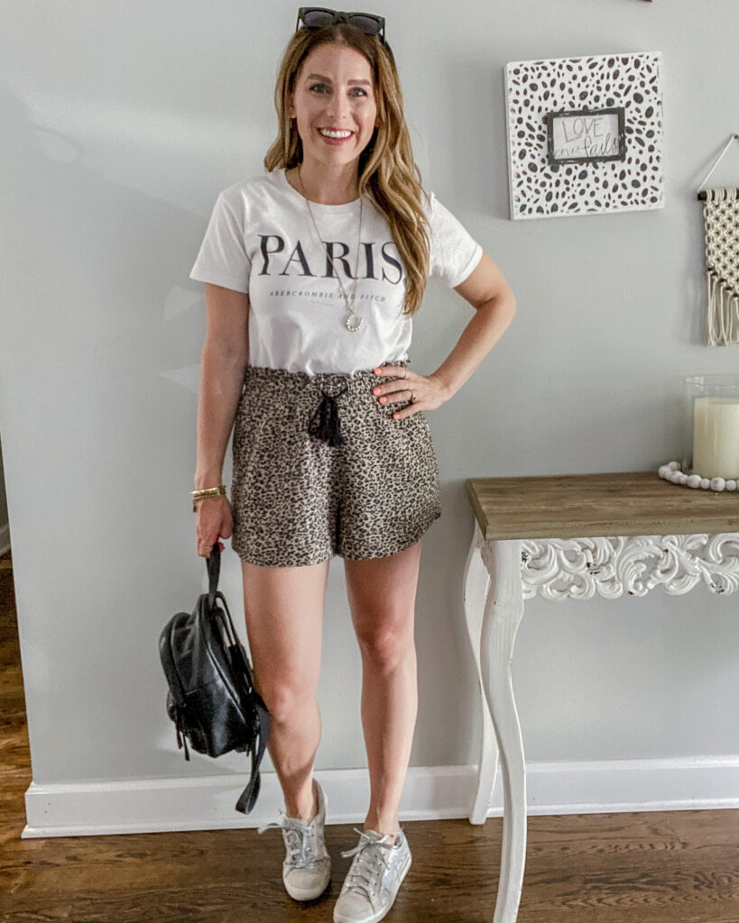 Everyday Casual Outfit with Leopard Shorts