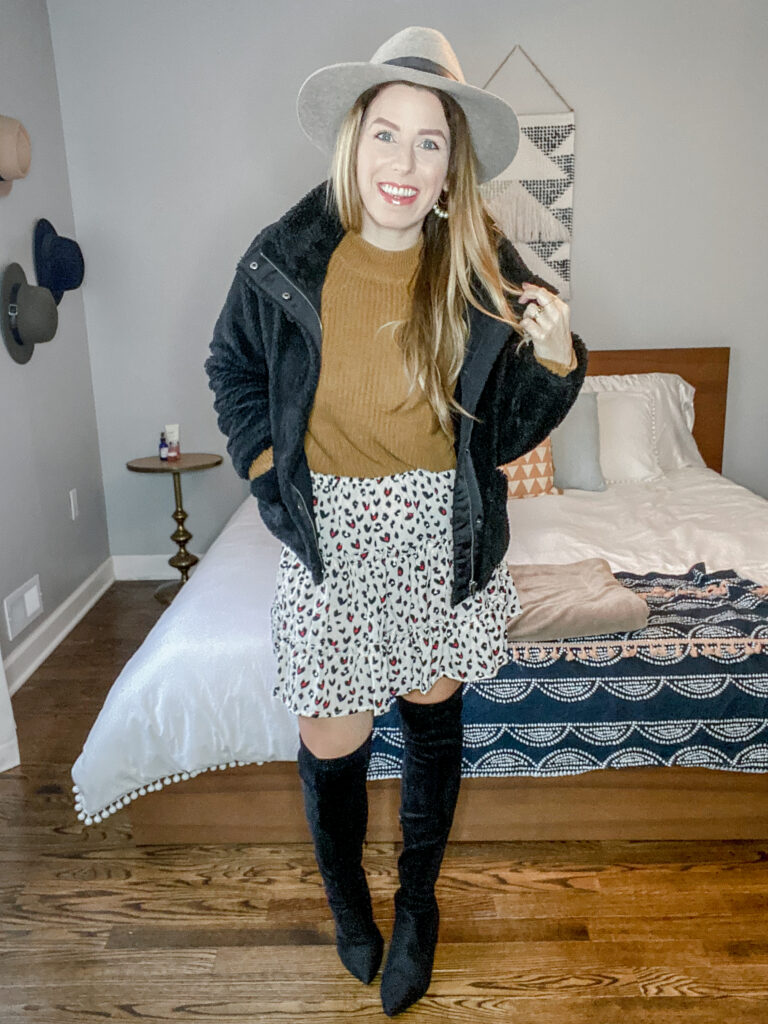 Date Night Sherpa Bomber Jacket Outfit