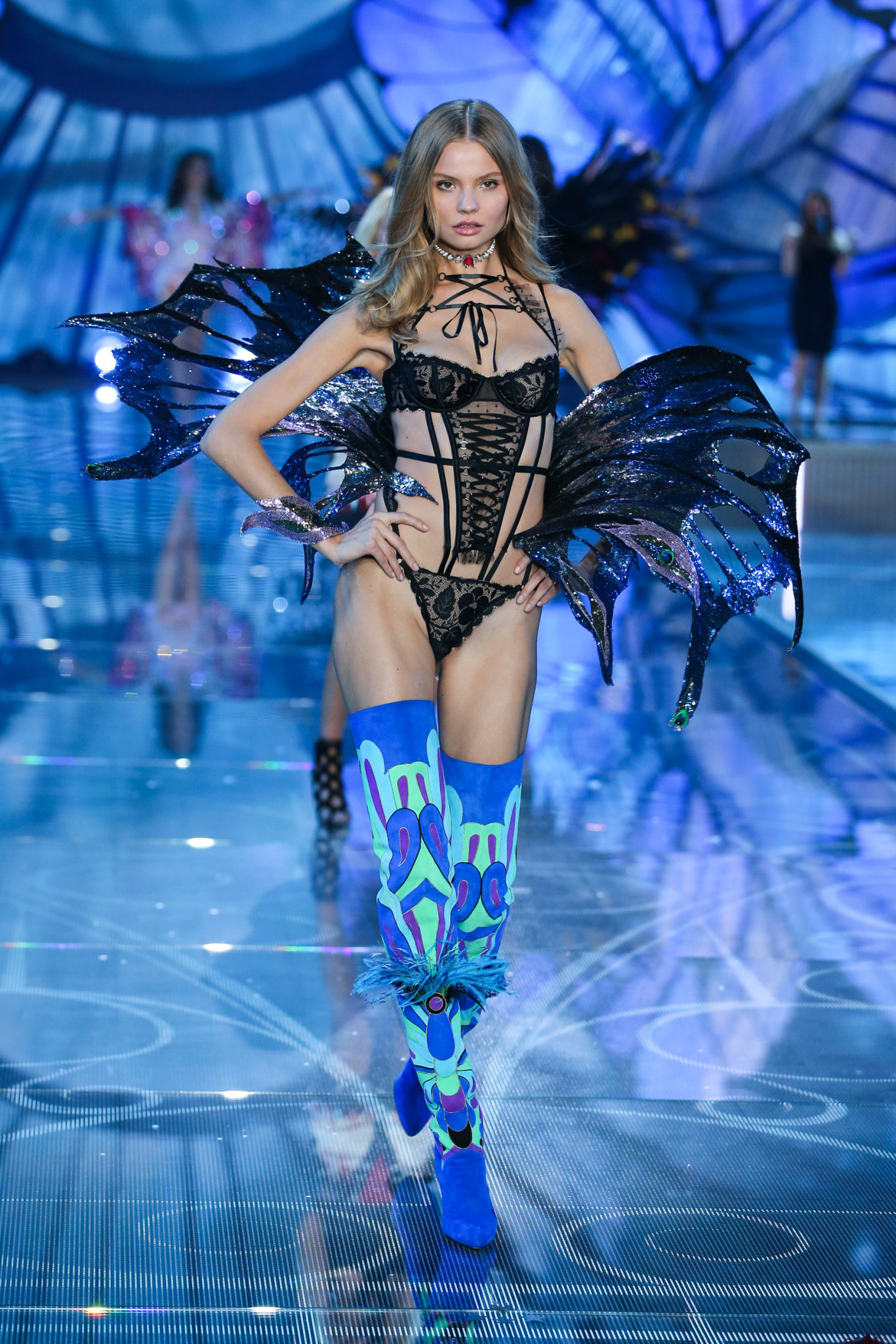 Model Magdalena Frackowiak walks the runway at the 2015 Victoria's Secret Fashion Show in New York City on November 10th, 2015