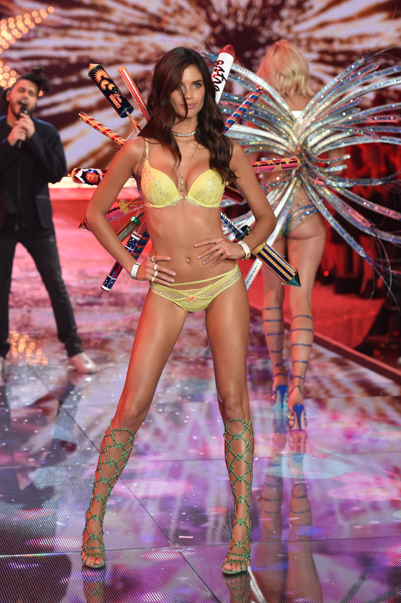 NEW YORK, NY - NOVEMBER 10: Model and New Victoria's Secret Angel Sara Sampaio from Portugal walks the runway during the 2015 Victoria's Secret Fashion Show at Lexington Avenue Armory on November 10, 2015 in New York City. (Photo by Dimitrios Kambouris/Getty Images for Victoria's Secret)