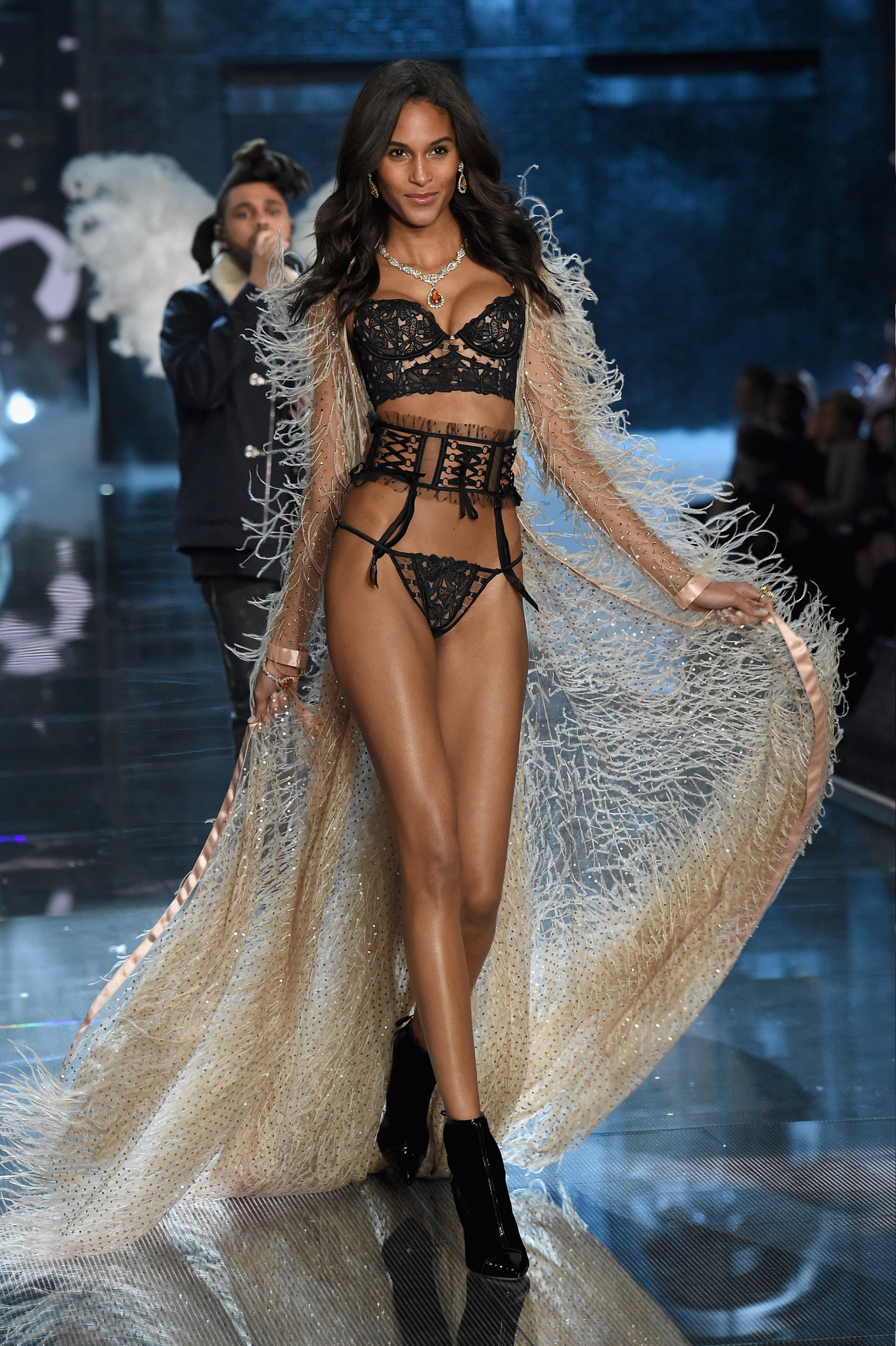 NEW YORK, NY - NOVEMBER 10: Model Cindy Bruna from France walks the runway during the 2015 Victoria's Secret Fashion Show at Lexington Avenue Armory on November 10, 2015 in New York City.