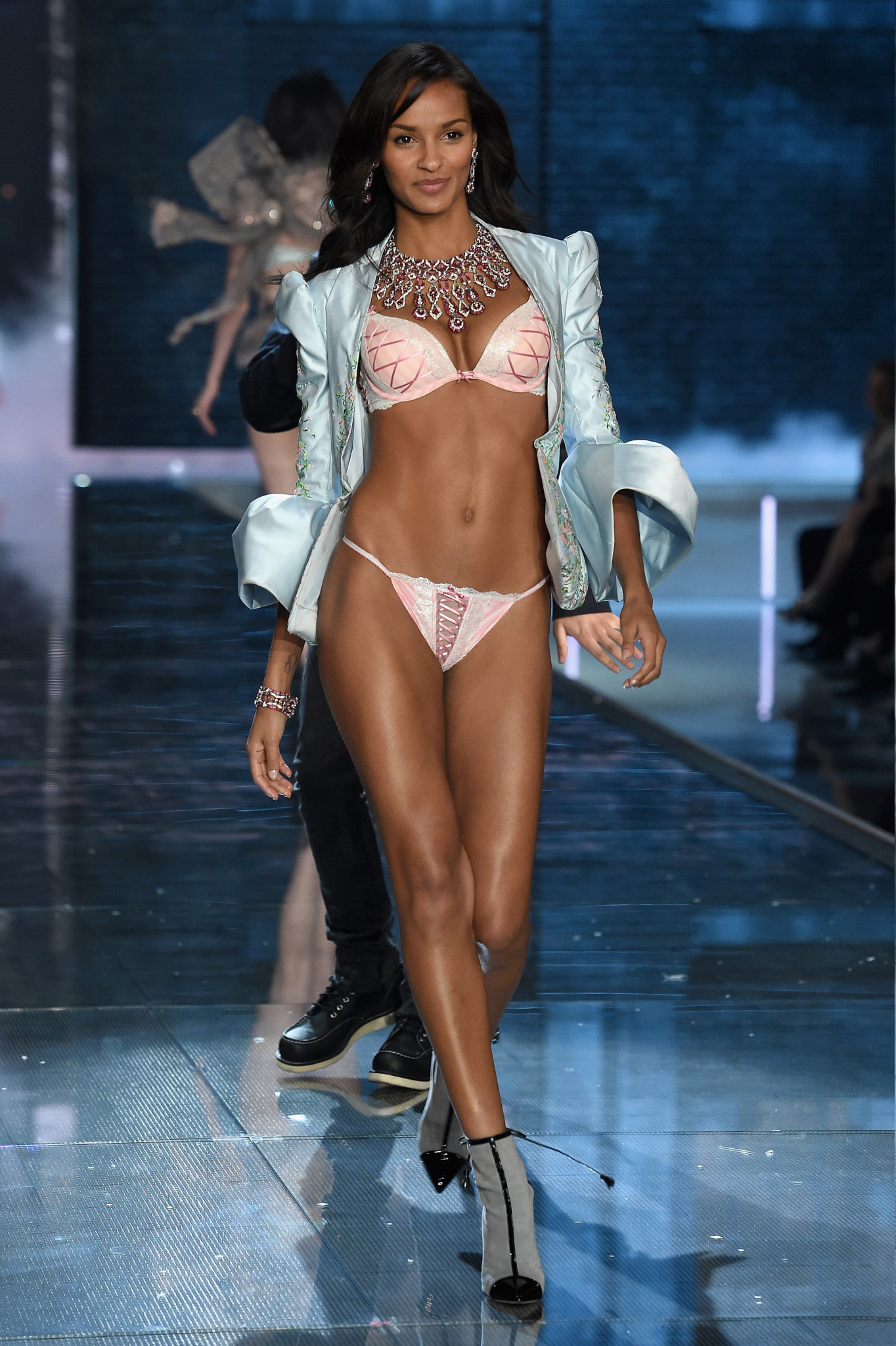NEW YORK, NY - NOVEMBER 10: Model Gracie Carvalho from Brazil walks the runway during the 2015 Victoria's Secret Fashion Show at Lexington Avenue Armory on November 10, 2015 in New York City.