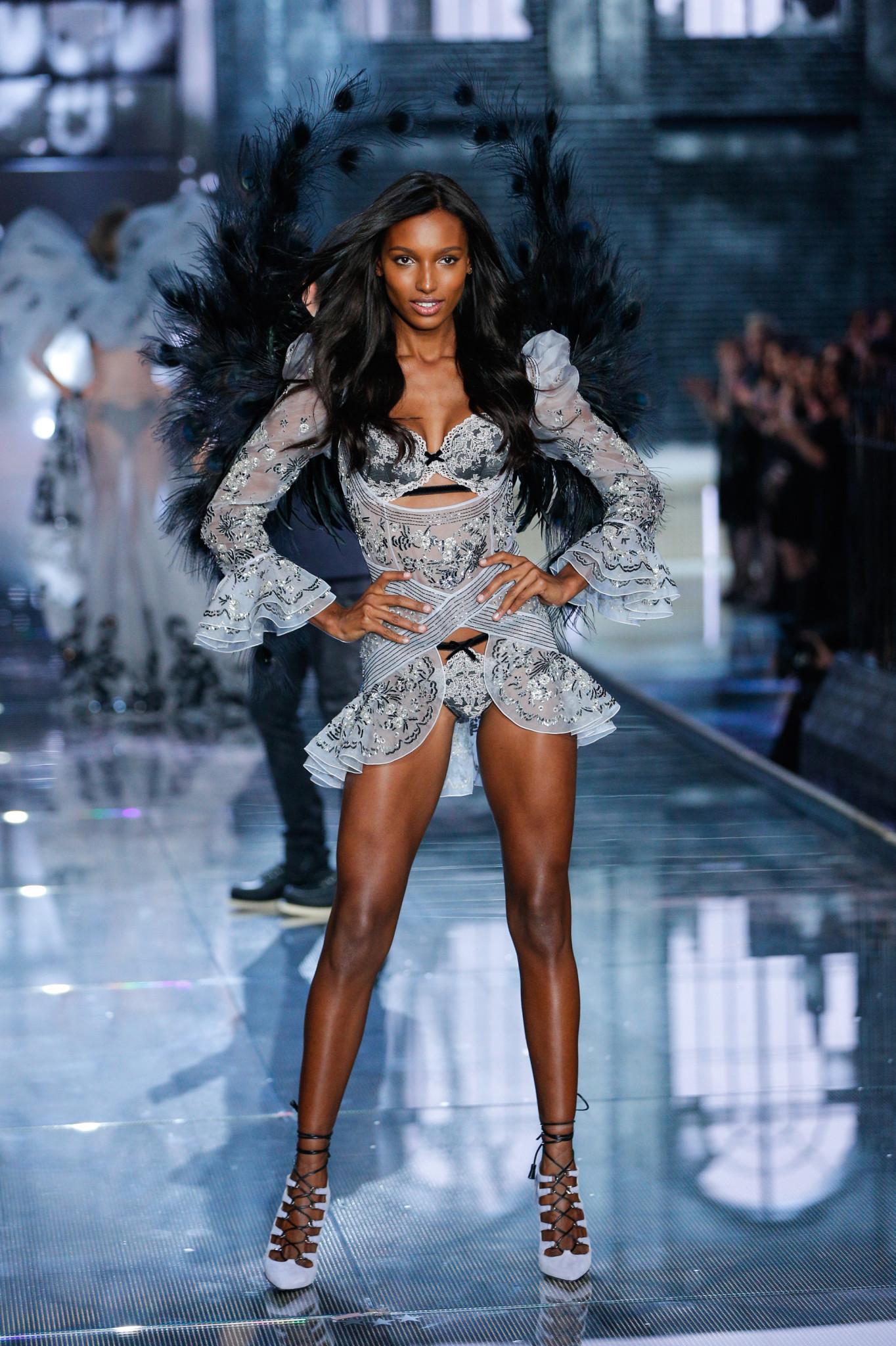 NEW YORK, NY - NOVEMBER 10: Model Jasmine Tookes walks the runway during the 2015 Victoria's Secret Fashion Show at Lexington Avenue Armory on November 10, 2015 in New York City.