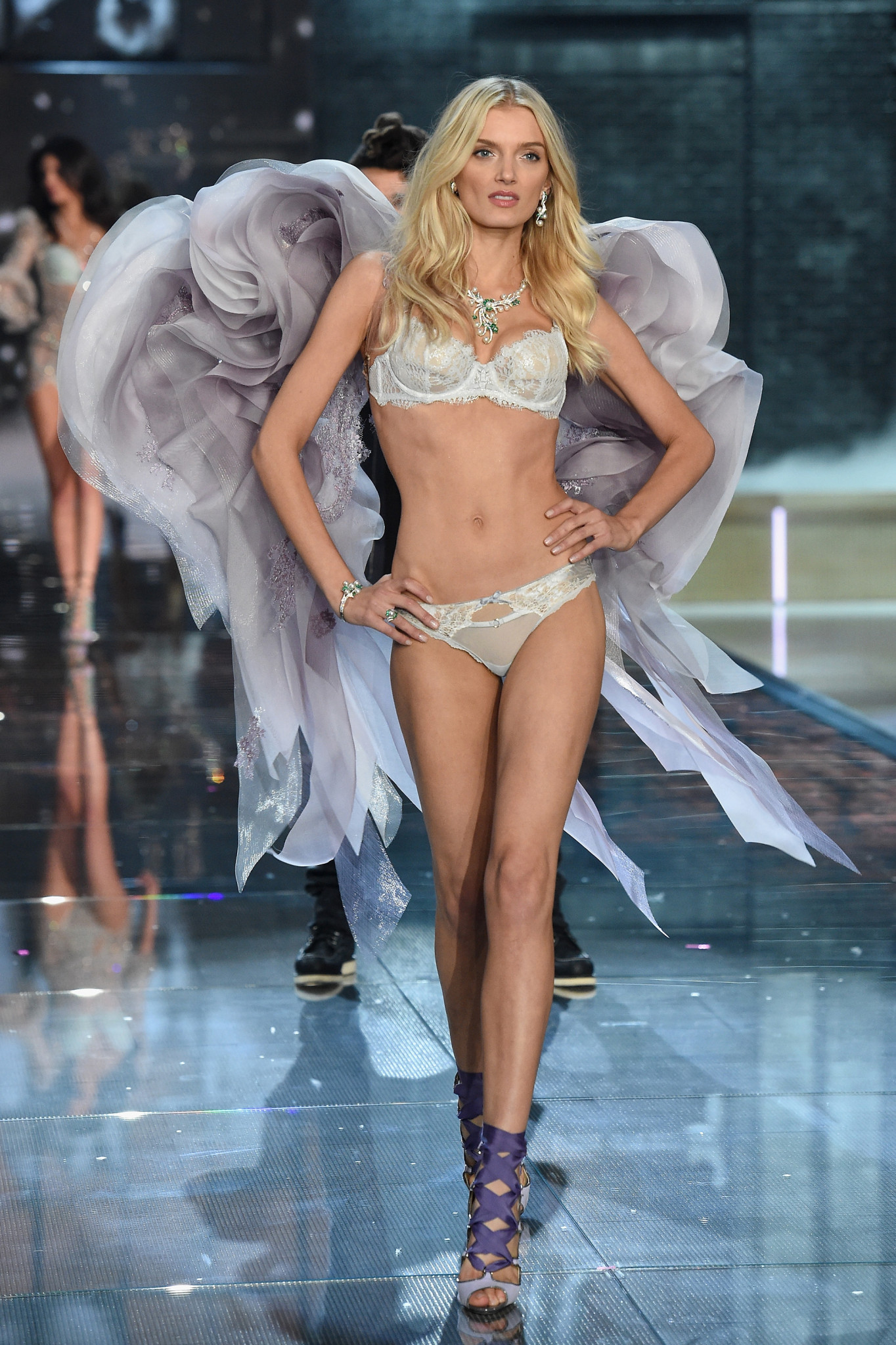 NEW YORK, NY - NOVEMBER 10: Model Lily Donaldson from United Kingdom walks the runway during the 2015 Victoria's Secret Fashion Show at Lexington Avenue Armory on November 10, 2015 in New York City.