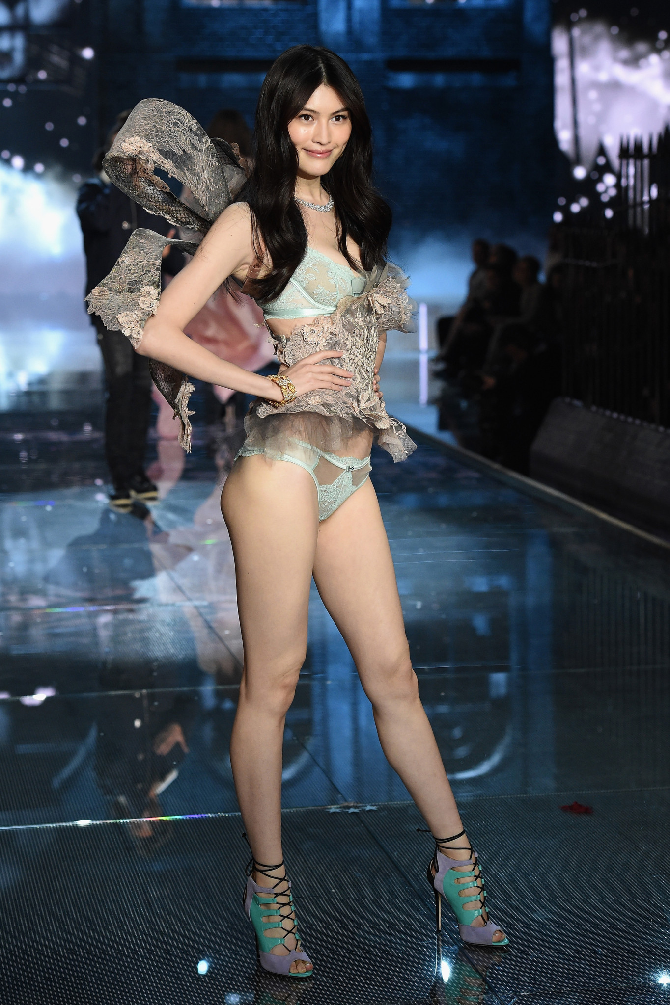 NEW YORK, NY - NOVEMBER 10: Model Sui Her from China walks the runway during the 2015 Victoria's Secret Fashion Show at Lexington Avenue Armory on November 10, 2015 in New York City.
