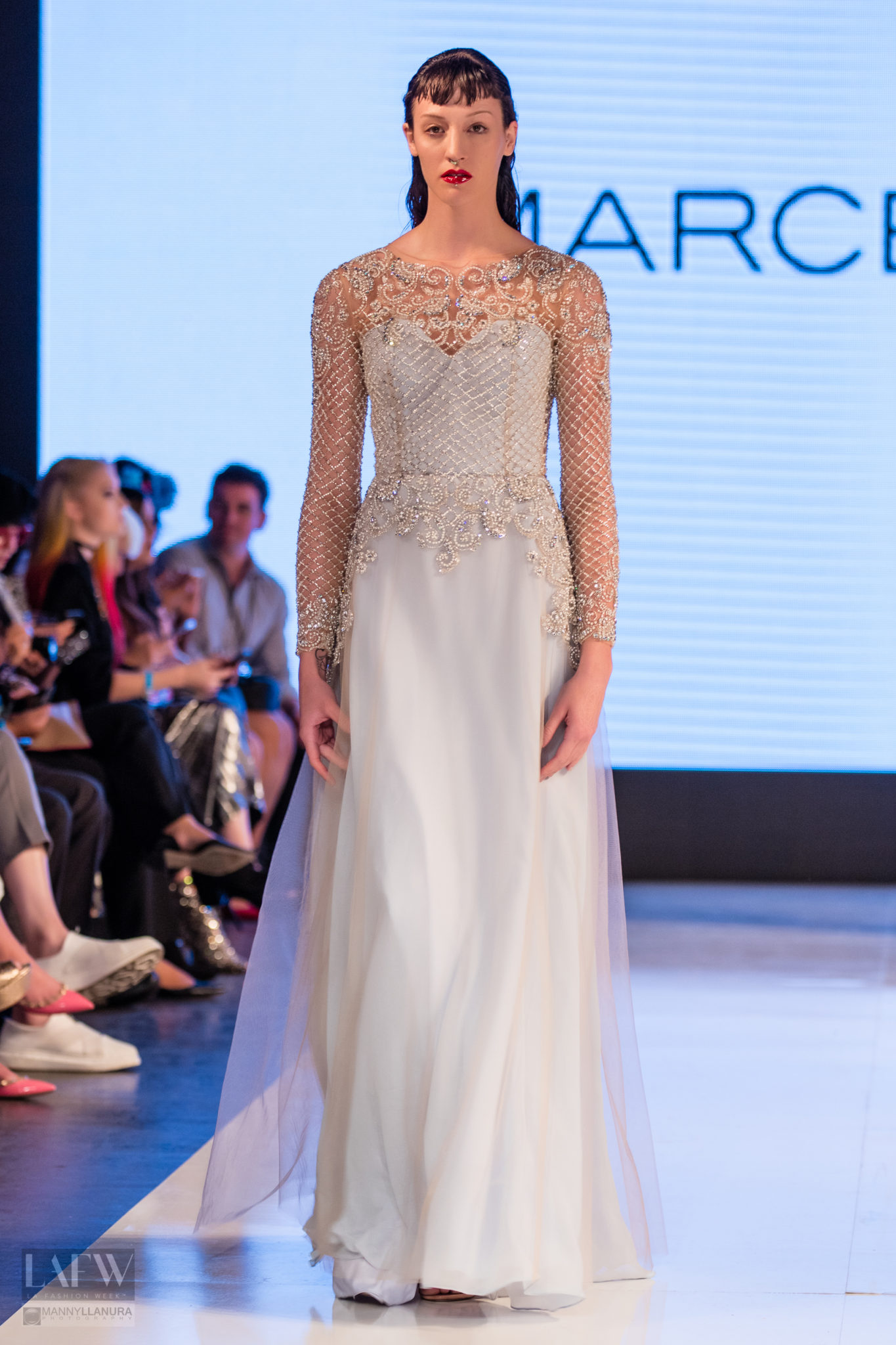 A model walks the runway wearing Marcelo Quadros at LAFW Los Angeles Fashion Week SS17