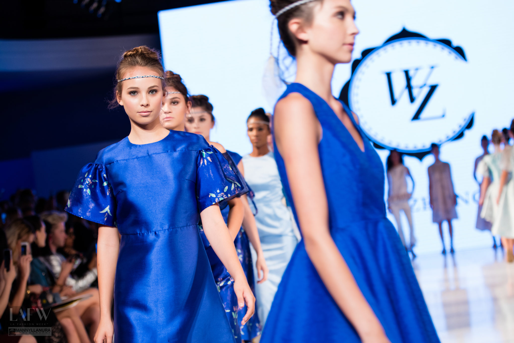 Models walk the runway in Cindy Wei Zhang design at Los Angeles Fashion Week SS17