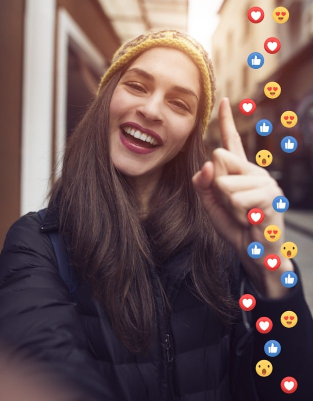 Influencer looking at social media reactions
