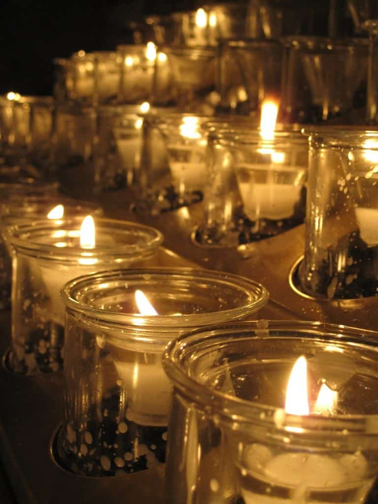 candles, church, lights